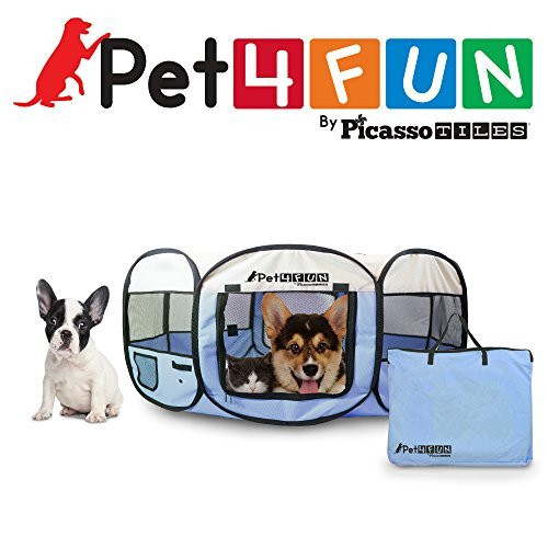 PET4FUN PN935 35″ Portable Pet Puppy Dog Cat Animal Playpen Yard Crates Kennel w/ Premium 600D Oxford Cloth, Tool-Free Setup, Carry Bag, Removable Security Mesh Cover/Shade, 2 Storage Pockets(Blue)