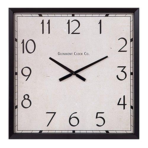 Patton Wall Decor Modern Square Clock Oversized Black