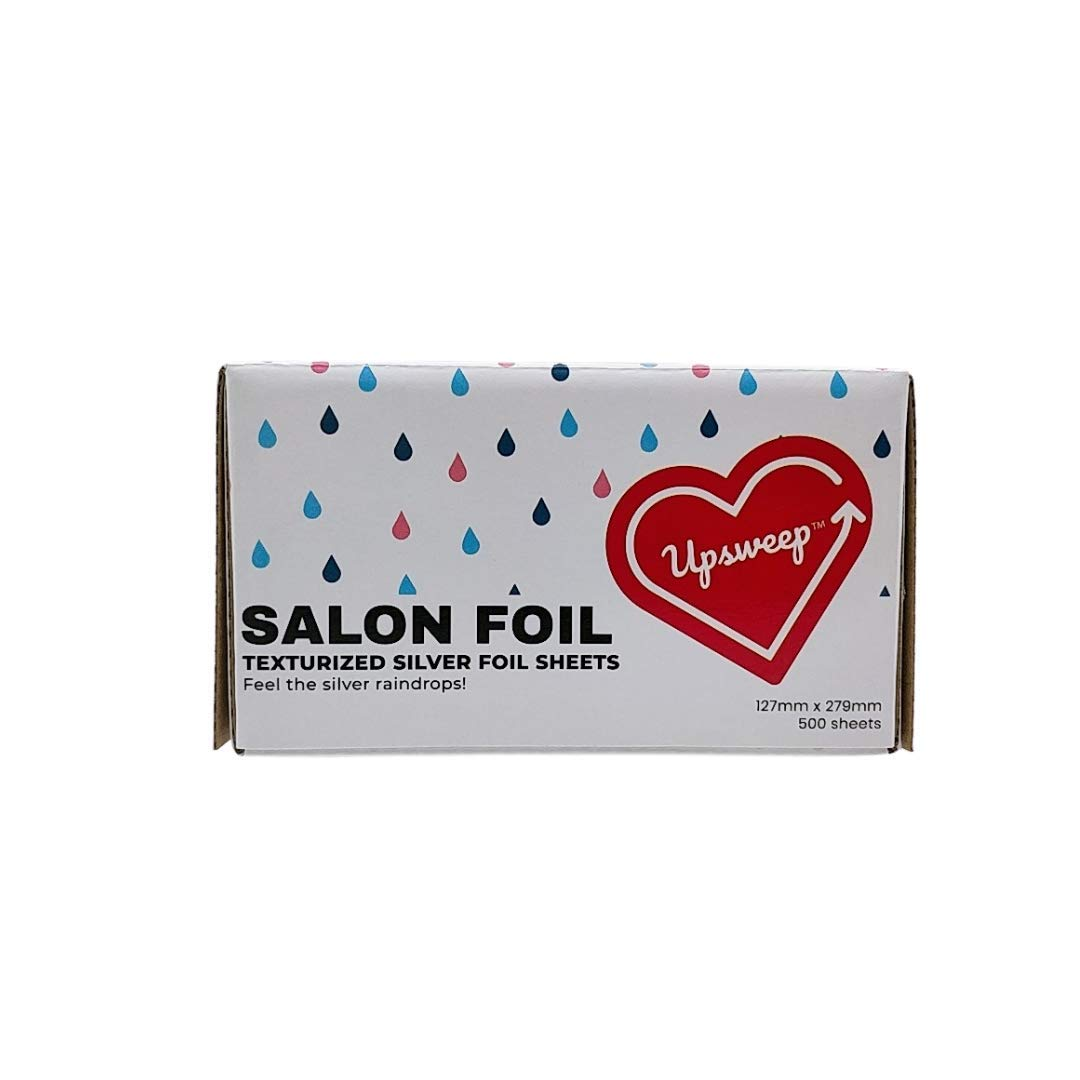 Upsweep Extra Grip Silver Raindrop 500 Count Hair Foils Color Processing Sheets, Aluminum Foils with Pop-Up Box for Highlighting and Balayage, Reinforced Thickness of Foil Sheets with no Mangles : Beauty