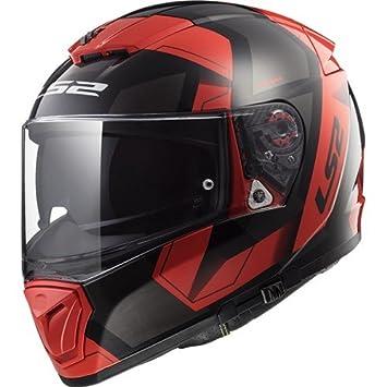 LS2 Casco de Moto Breaker Física, Negro/Rojo, tamaño M
