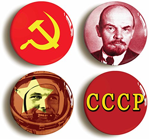 Costumes Themed Russian (Communist Soviet Union USSR Button Pin Set (Size is 1inch diameter))