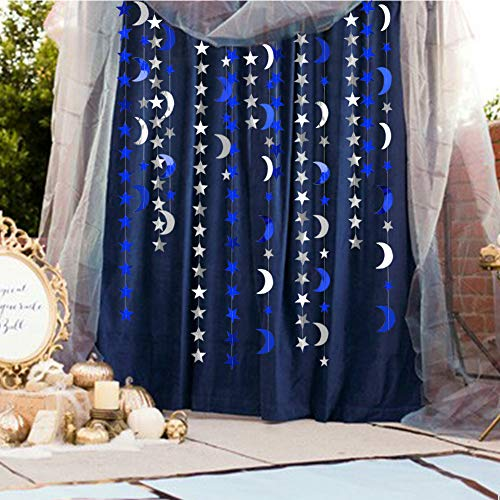 Decor365 Royal Blue Silver Stars and Moon Garlands Kit Twinkle Little Star Garand/Hanging Streamers/Bunting Banner for Birthday Party Decoration/Wedding Decor/baby Shower/Christmas/Nursery/Ramadan