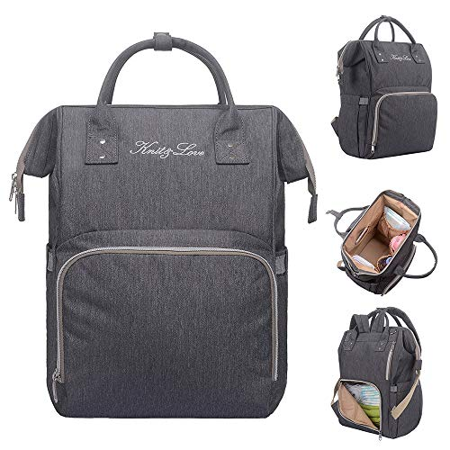 - KNIT&LOVE Diaper Bag Large Capacity Multifunction Travel Backpack for Baby Care,Anti-Water Maternity Nappy Bags, Waterproof, Durable and Stylish, Gray (Gray, M)