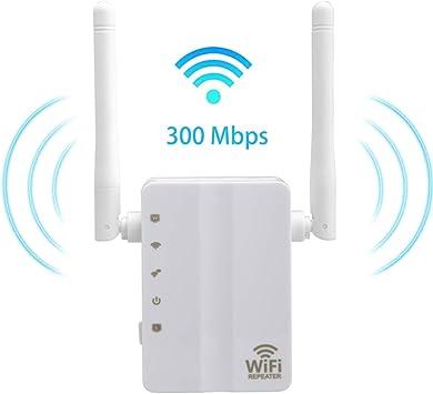 YOUKUKE Extensor de Rango de Refuerzo WiFi de 300 Mbps, amplía WiFi de Banda Dual de 2,4 GHz, con Antena Dual de Alta Ganancia / 2 Puertos Ethernet ...