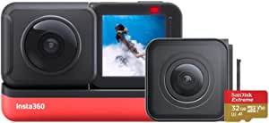 Insta360 ONE R Twin Edition Memory Card Bundle – 4K Action Camera & 5.7K 360 Camera with Interchangeable Lenses, Stabilization, IPX8 Waterproof, Touch Screen, AI Editing