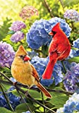 Cardinals in Hydrangeas - Standard Size, Decorative Double Sided, Licensed and Copyrighted Flag - Printed IN USA by Custom Decor Inc. 28 Inch X 40 Inch approx., Multi