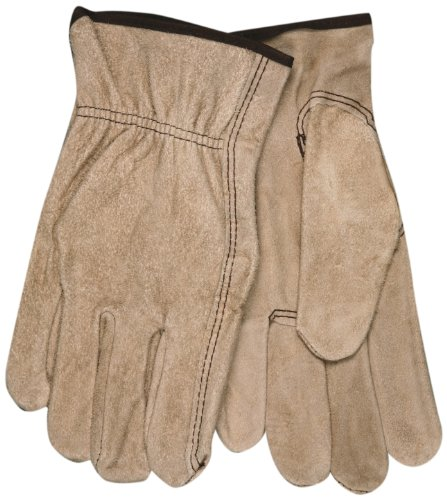 MCR Safety 3130XL Regular Grade Cow Split Leather Driver Unlined Men's Gloves with Keystone Thumb, Brown, X-Large, 1-Pair Memphis Split Leather Driver