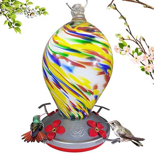 Grateful Gnome Hummingbird Feeder - Hand Blown Glass - Bubblegum Swirl - 28 Fluid (Blown Glass Hummingbird Feeder)