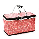 GLAUCUS Insulated Picnic Basket Folding Collapsible Picnic Basket Cooler with Waterproof Lining for Outdoor Party (GW007Red English Letters)