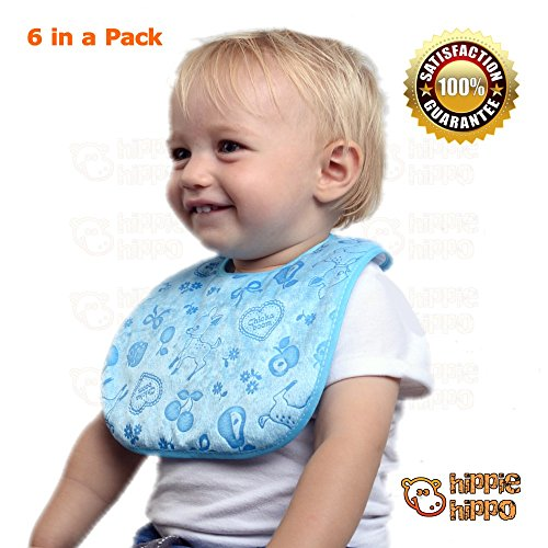 HIPPIE HIPPO Baby Bib Cloth Water Resistant 100% Cotton 6-Count Set Newborn New Born Infant Feeding Supplies Tools Fun Boys Girls Drooler Airplane Baby Feeding Art Craft Kitchen Help Daddy Mummy