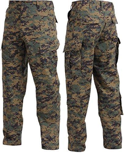 Bellawjace Clothing Black & Digital Camouflage Military Combat Tactical Ripstop BDU Pants