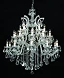 Crystorama 4470-CH-CL-MWP, Maria Theresa Crystal Chandelier Lighting, 26 Light, 650 Watts, Chrome