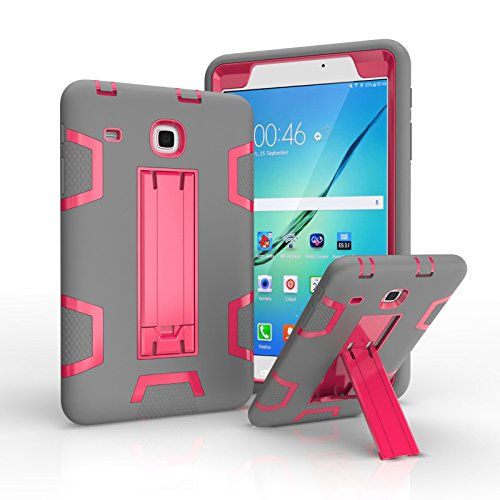Ycxbox Samsung Galaxy Tab E 8.0 T377 Case, Galaxy Rugged Kickstand Stand Heavy Duty Kids Proof Protective Case for SM-T377A / SM-T377V / SM-T377P (Gray+Pink)