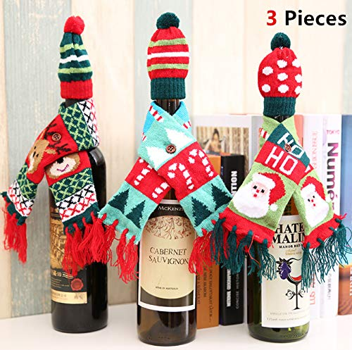 3 Sets Christmas Wine Bottle Covers Set, Magnoloran Gift Wrapping Knitted Sweater Scarves Hat Wine Bottle Dress Party Favors Supplies Year Christmas Dinner Party Kitchen Table Decoration X-Mas Gift