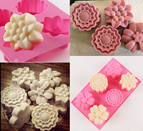 Ouddy 3 Pack 6 Cavity Flower Shape Silicone Soap Making Mold Handmade Chocolate Cake Baking Molds DIY Soap Mold with 2 S Hooks