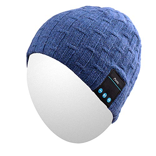 Qshell Washable Bluetooth Beanie Winter Hat Short Skully Cap with Bluetooth Stereo Headphones Mic Hands Free Rechargeable Battery Compatible with Mobile Phones, iPhone, iPad, Laptops, Tablets - Blue ()