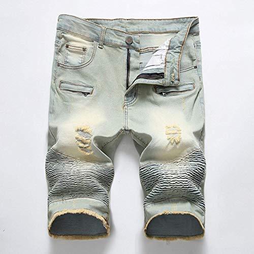 HX fashion Pantalones Vaqueros De Mezclilla Pantalones Cortos Pantalones Cortos Tamaños Cómodos con Cremallera Pantalones Rectos Ssige Pantalones Vaqueros Pitillo Skinny Slim R Den Summer Ropa Blue4