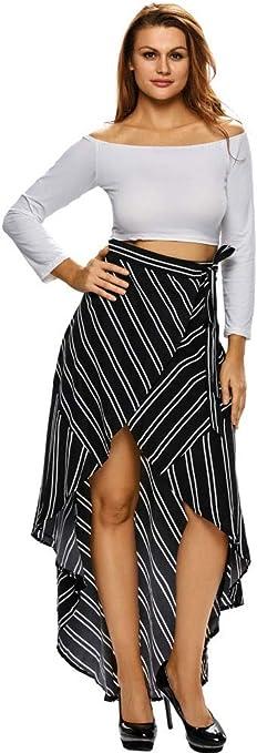 MTX-Girl cloth Striped Low Waist Straps Irregular Faldas Versátil ...