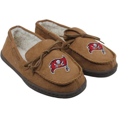 FOCO NFL Tampa Bay Buccaneers Football Team Logo Moccasin Slippers Shoes, Team Color, Large/Size 11-12