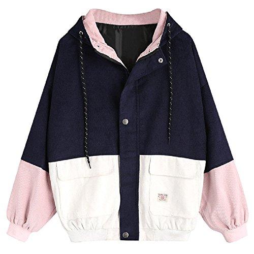 Yalasga Women Stylish Corduroy Color Block Patchwork Hooded Coat Casual Loose Baseball Jacket Windbreaker Street Beat (Navy, S) ()