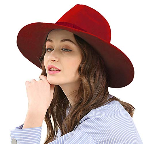 - Aniwon Wool Wide Brim Trendy Flat Top Fedora Hat Retro Trilby Jazz Cap for Women Wine Red