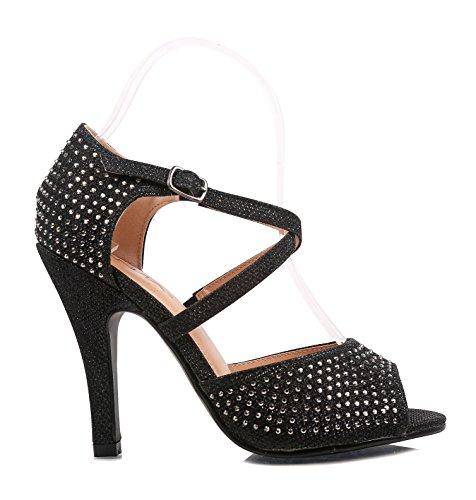 Diamantes De Imitación De Moda Open Toe Sandalias Gladiador Hebilla Cruzada Hebilla Para Mujer 4.25 Tacones De Aguja Zapatos De Vestir Negro