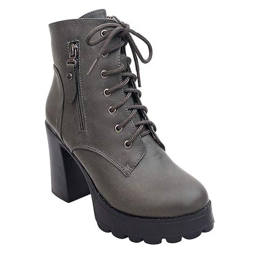 Gtagain Tobillo Botas Alto Tacón Botines Mujer - Mujeres Cuero Botines Bajo Bloque Grueso Botas Plataforma Ante Cordones Antideslizante Zapatos Informal ...