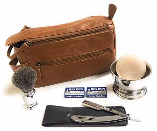 GBS Men's Shaving Gift Set For Head and Face + Bonus Cognac Travel Toiletry Bag - Barber Shavette, Pure Badger Bristle Brush Bowl Leather Case Shave Soap, Stand + Blades Best Wet Shaving Beard Kit