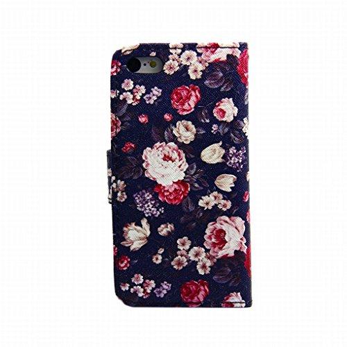 LEMORRY iphone 5 5S Portefeuille Rabat Coque Etui, Rétro Floral Protecteur Soft Silicone TPU Housse + Durable PU Cuir Cartes Fente Stand-View Bumper Magnétique Pochette