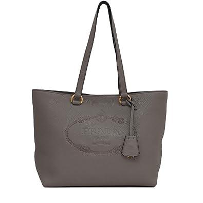 c12b1b05953a Amazon.com  Prada Women s Gray Vitello Daino Leather Shopping Tote 1BG100   Shoes