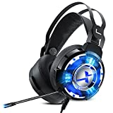 PC Gaming Headphones with Microphone,NUOXI X5 Over Ear 57mm Large Speaker Unit Gaming Headset 7.1 USB Surround Sound Stereo Noise Cancelling LED Light for PC,MAC,Laptop,Gamer (Black)