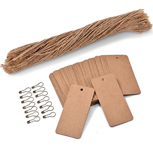 - 200 PCS Price Tags with Pre Cut Jute String and Safety Pins,LOOMY Printable Blank Brown Paper Tags for Sales Retail and Display