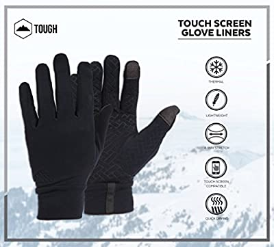 Tough Outdoors Touch Screen Gloves - Glove Liners Designed for Running, Skiing, Snowboarding, Cycling & Texting - 90% Nylon 10% Spandex Reinforced Blend