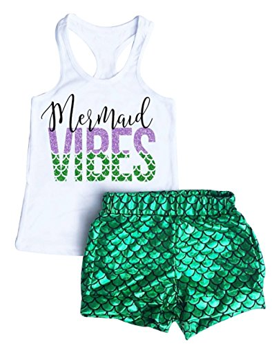 UNIQUEONE 2Pcs Baby Girls Summer Mermaid Vibes Letter Printed Vest Tops Short Pant Sets Size 4-5Years/Tag120 (White) for $<!--$8.99-->
