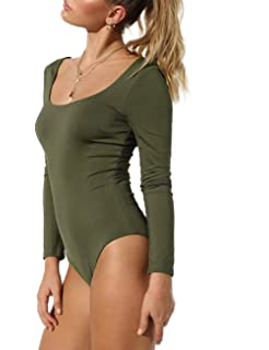 7687213b26 M Women s Basic Solid Bodysuit Single Breasted Long Sleeve Bodycon Jumpsuit  Stretchy Romper Leotard