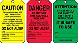 Accuform TSS200CTP PF-Cardstock Scaffold Status Tag, Legend ''DANGER/CAUTION/ATTENTION'', 5.75'' Length x 3.25'' Width x 0.010'' Thickness, Black on Green/Yellow/Red (Pack of 25)