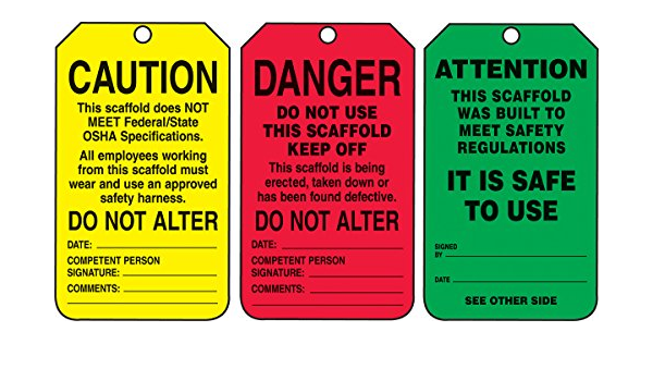 5.75 Length x 3.25 Width x 0.015 Thickness Black on Green//Yellow//Red LegendDanger//Caution//Attention Accuform TSS200PTP RP-Plastic Scaffold Status Tag Pack of 25