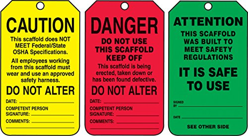 Accuform TSS200CTM PF-Cardstock Scaffold Status Tag, Legend ''DANGER/CAUTION/ATTENTION'', 5.75'' Length x 3.25'' Width x 0.010'' Thickness, Black on Green/Yellow/Red (Pack of 5) by Accuform