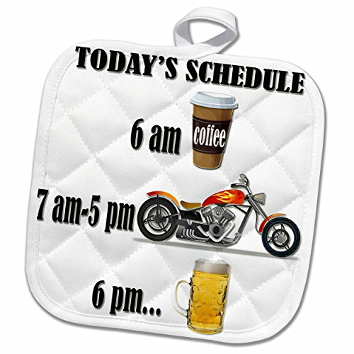 3D Rose Coffee Beer. Funny Motorcycles Saying. Pot Holder, 8 x 8