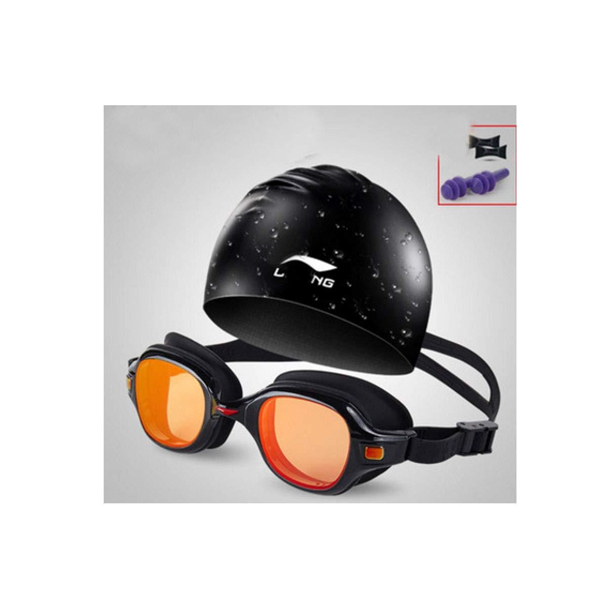 Black 8 Qiyuezhuangshi Goggles, Dreamy pink Red Design Goggles, HD Waterproof and AntiFog Design, Large Box Swimming Equipment,Black Carrying Swimming Cap