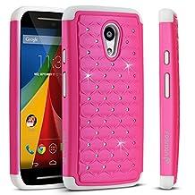 Fosmon® Motorola Moto G (2nd Gen, 2014) Case (HYBO-SD) Star Diamond Hybrid Dual Layer Silicone Case Shell Cover (Sturdy Form-Fitted) for Motorola Moto G (2nd Gen, 2014) - Fosmon Retail Packaging (Hot Pink/White)
