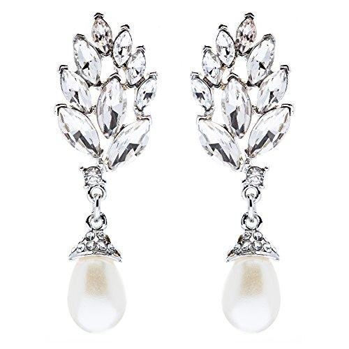 ry Crystal Pearl Chic Modern Teardrop Dangle Earrings Silver ()