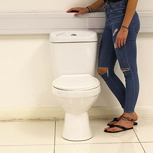 Modern White Round Ceramic Close Coupled Toilet Bathroom Pan Luxury Beauty4Less