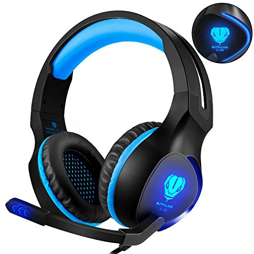 Fenvella Gaming Headset With Mic For PC/PS4/Xbox One Controller/Nintendo Switch 3.5mm Wired Stereo Noise Isolating Over Ear Headphones With LED Light Volume Control For Ipad/Laptop/Mobile Devices Blue (Mic Controller)