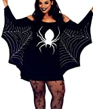 Aimur Halloween Costume Plus Size Bat Girl Mini Dress Tops With Wings for Adult Women