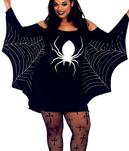 [Aimur Halloween Costume Plus Size Bat Girl Mini Dress Tops With Wings for Adult Women] (Sexy Swashbuckler Adult Womens Plus Size Costumes)