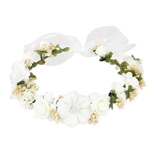 Flower wreath headband flower garland handmade wedding party ribbon flower wreath headband flower garland handmade wedding party ribbon headband wristband hairband white mightylinksfo