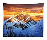 """Lunarable Mountain Tapestry King Size, Sunlights on Summit of Everest Scenic Scenery Sunset in Natural Paradise, Wall Hanging Bedspread Bed Cover Wall Decor, 104"""" X 88"""", Orange Violet Blue"""