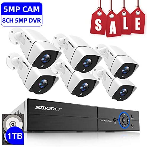 SMONET 5MP Security Camera System with 1TB Hard Drive, 5-in-1 8CH Video DVR with 6X 5MP 2560TVL Indoor Outdoor Weatherproof CCTV Surveillance Wired Cameras,Motion Alerts,Night Vision,Remote Access