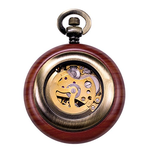 TREEWETO Vintage Wood Automatic Mechanical Pocket Watch for Men Women Steampunk Skeleton Dial with Chain + Gift Box by TREEWETO (Image #2)